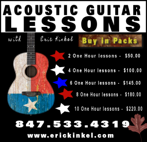 Acoustic Guitar Lessons by Eric Kinkel in Packs of 2,4,6,8, and 10