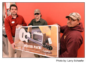 Kyle Dfacik, Target store  Palatine Illinois, Eric Kinkel, Jeremy RenteriaGuitar package dontated to Jeremy by Target , Photo by: Larry Schaefer
